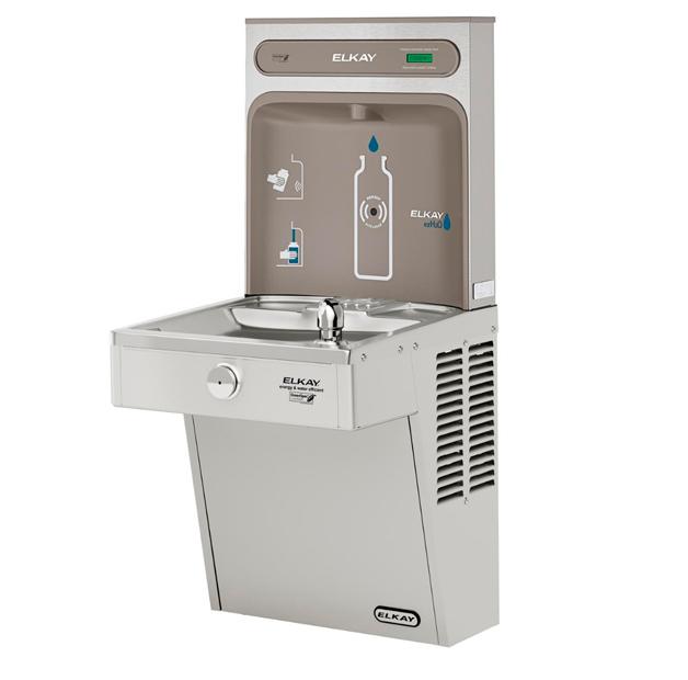 Estación de llenado de botellas de agua Elkay EZH2O con bebedero de agua vista lateral 2