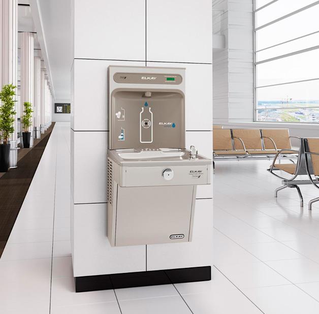 Estación de llenado de botellas Elkay EZH2O con bebedero individual para instalaciones de uso intensivo