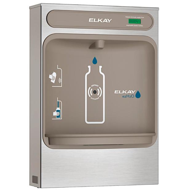 Estación para llenado de botellas de agua Elkay EZH2O, montaje en superficies vista lateral 1