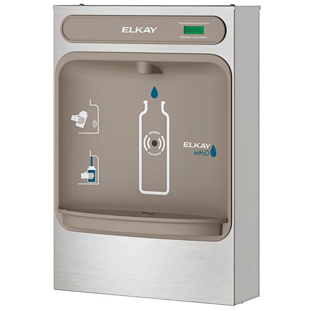 Estación para llenado de botellas de agua Elkay EZH2O, montaje en superficies vista lateral 2