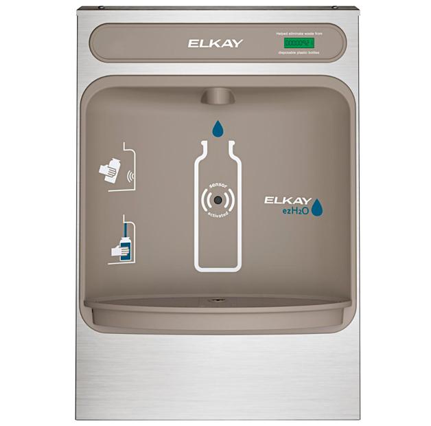 Estación llenadora de botellas de agua Elkay modelo EZH2O para montaje en superficie vista frontal