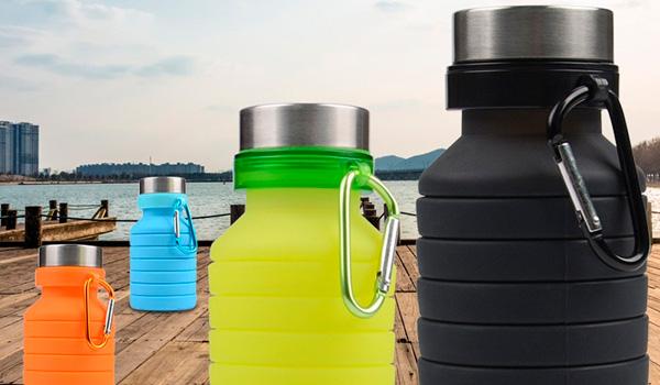 Botellas de agua reutilizables de silicón